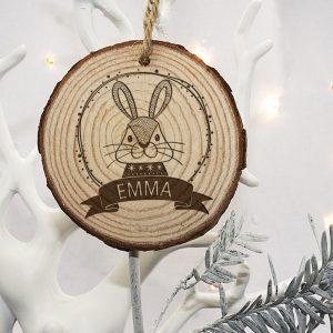Rabbit Christmas Tree Decoration - Personalised for your Child