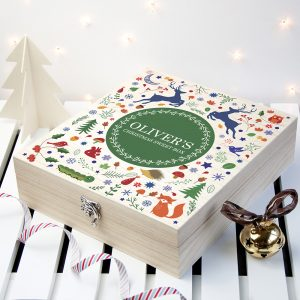 Wooden Christmas Gifts - Personalised Woodland Sweetie Box