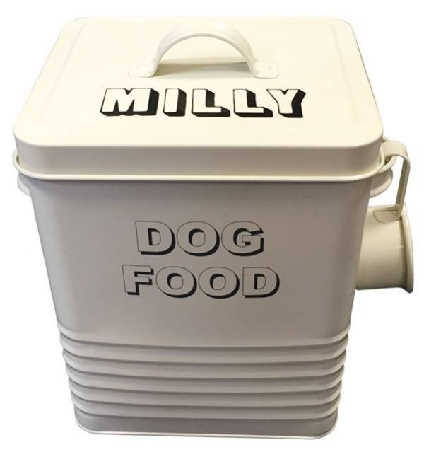 Personalised Dog Food Tin – Attractive Cream Caddy and Scoop