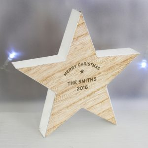 Wooden Star Decoration - Personalised Rustic Ornament