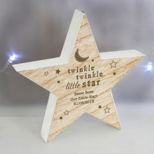 Wooden Star Ornament - Personalised Rustic Star Decoration