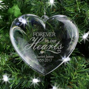 Christmas Ornament In Memory Of - Personalised Clear Heart