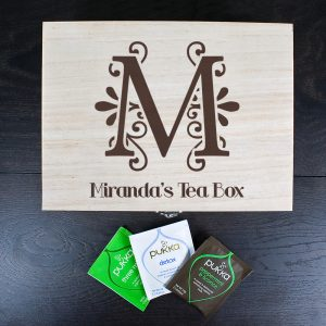 Engraved Wooden Tea Box - Charcoal