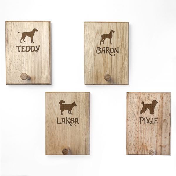 Personalised Dog Gifts – Solid Oak Lead Holders
