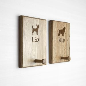 Personalised Dog Gifts - Solid Oak Lead Hooks