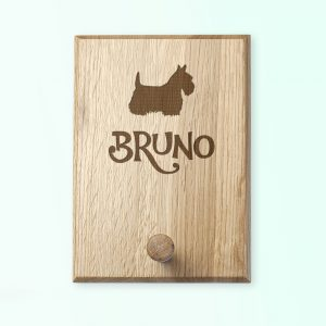 Personalised Dog Gifts - Solid Oak Engraved Hook