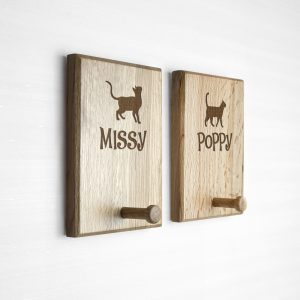 Solid Oak Pet Hooks - Personalised Gifts for Cats