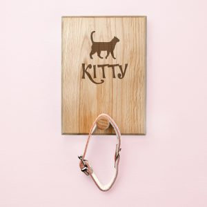 Personalised Gifts for Cats - Rustic Solid Oak Pet Hook
