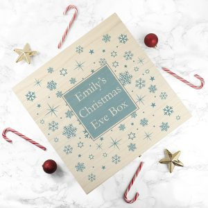Christmas Box for a Child - Beautiful Blue Snowflake Christmas Eve Box