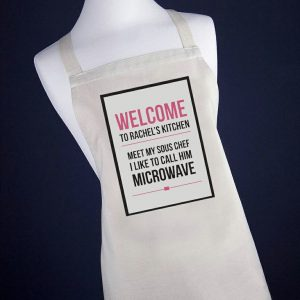 Funny Aprons Personalised - Meet My Sous Chef the Microwave