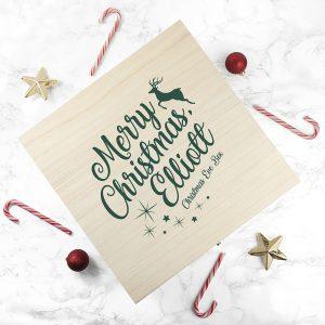 Personalised Wooden Christmas Eve Box - Lovely Festive Design
