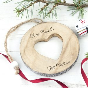 Personalised Sparkle Heart Christmas Decoration to Treasure