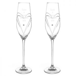Personalised Swarovski Glasses - Hand Cut Champagne Flutes