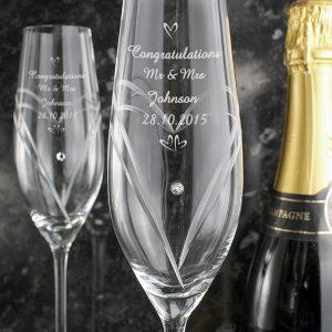 Personalised Swarovski Champagne Glasses