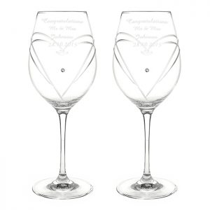 Swarovski Wine Glasses - Personalised & Presented in Silk Gift Box