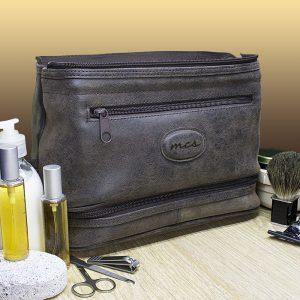 Mens Wash Bag - Personalised Suede Textured Toiletries Bag