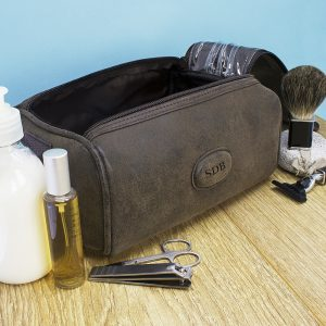 Personalised Mens Wash Bags - Double Zipped Suede Textured Toiletries Bag