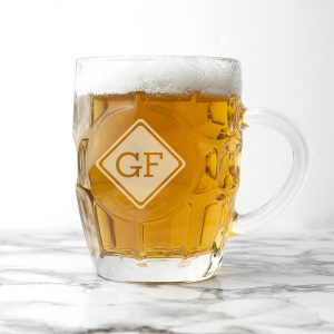 Personalised Pint Glass - Monogrammed Dimpled Beer Glass