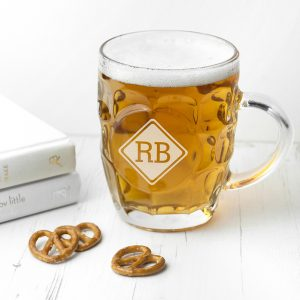 Classic Beer Stein Personalised with Diamond Monogram