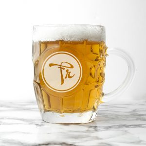 Monogrammed Pint Glasses - Personalised Dimpled Beer Glass