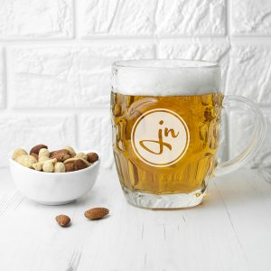 Monogrammed Pint Glasses - Dimpled Beer Glass