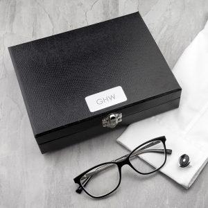 Cufflink Box - Elegant 12 Compartment Engraved Gift for Men