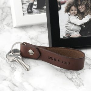 Contemporary Personalised Leather Keyring Gift