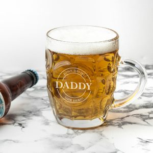 Personalised Gifts for Dads - Dimple Pint Glass