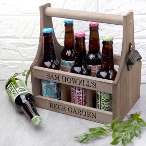 Personalised Wooden Beer Trug With Bottle Opener