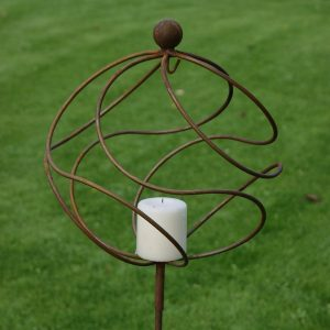 Garden Candle Holder - Rustic Tangle Ball Garden Stake