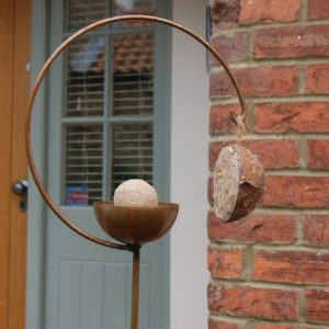 Pole Bird Feeders - Artistic Curved Ball and Hook Bird Feeder