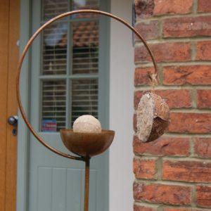 Pole Bird Feeders - Artistic Curved Ball and Hook Bird Feeder