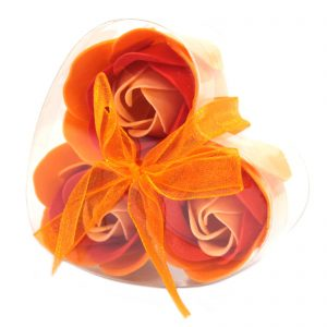 Decorative Soaps - Heart Shaped Box of 3 Peach Soap Roses
