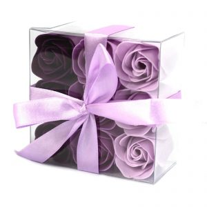 Flower Shaped Soap - Gorgeous Box of 9 Lavender Soap Roses