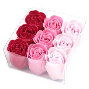 Pink Rose Soap Flower Petals - Box of 9 Roses