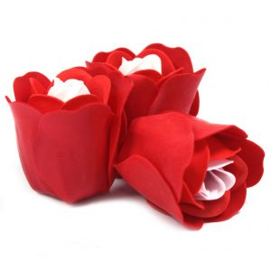 Soap Petals - Heartshaped Box of 3 Red Scented Soap Roses