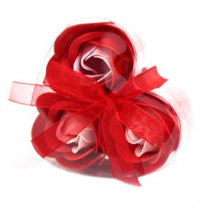 Red Rose Soap Flowers x 3