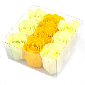 Rose Petal Soal - Luxurious Set of 9 Spring Roses Soap Flowers