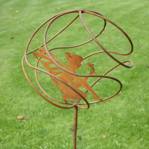 Contemporary garden stake with a generously sized Tangle Ball Fairy Catcher to enchant, intrigue and bring you good luck. Ready to rust finish. Free Delivery in UK.