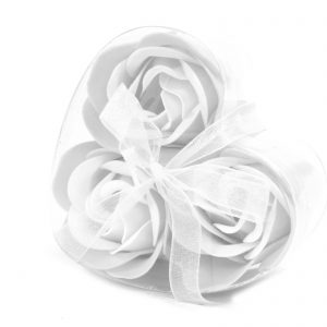 Flowers Made Out of Soap - Heartshaped Box of 3 White Roses