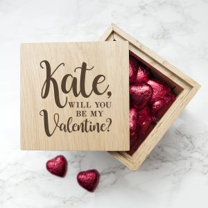 Be my Valentine Romantic Gifts - Chocolate Filled Oak Photo Cube