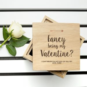 Cool Valentine's Day Gifts - Engraved Oak Photo Cube & Chocolates