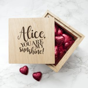 Valentine's Day Present Ideas - Chocolate Filled Oak Photo Cube