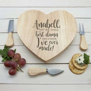 Valentines Gift Ideas For Her - Personalised Wooden Cheese Board
