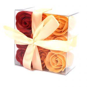 Bath Flower Petals- Luxurious Set of 9 Peach Soap Roses