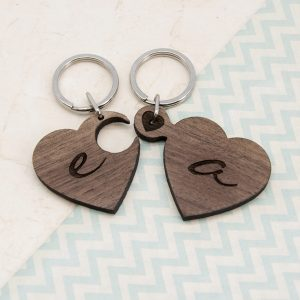 Couples Wooden Keyrings - Two Hearts Personalised Jigsaw Keyrings