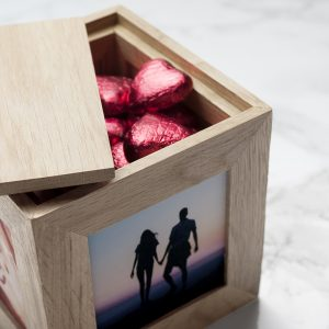 Stunning Oak Photo Cube Filled with Chocolates