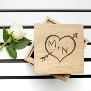 Unique Valentines Day Gifts - Engraved Oak Photo Cube & Chocolates