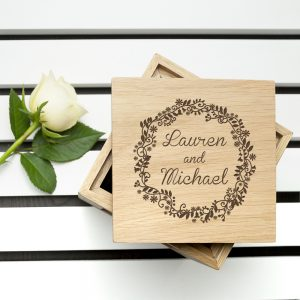 Valentines Day Ideas for Couples - Engraved Oak Photo Cube