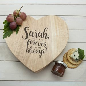 Valentines Gifts for Couples - Personalised Cheese Board & Knives